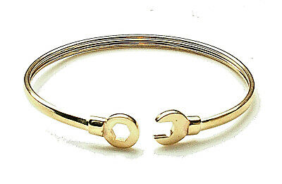 9ct Yellow Gold Childrens Torque Spanner Bangle Gift Boxed