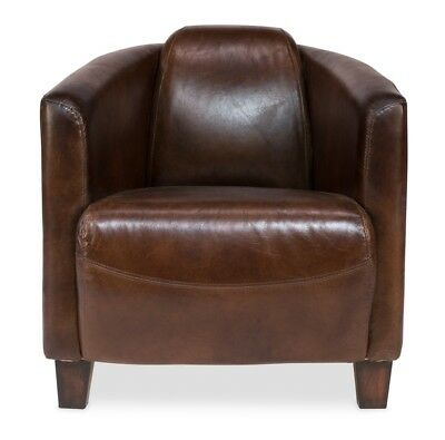 """28"""" Wide Leather Arm Chair Top Grain Leather Vintage Brown Solid Wood Legs"""