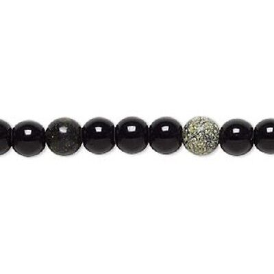 30 x black obsidian and Russian serpentine (natural) gemstone beads 6-7mm LB1315