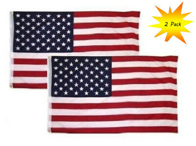 2 PACK - 3x5 Ft USA American Nylon Printed Flag Stars Grommets Flag