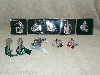 Longaberger Pewter 10 Christmas Ornaments