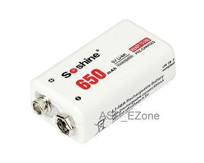 Soshine 9V Li-po Rechargeable Battery: 650mAh 8.4V White for Radio