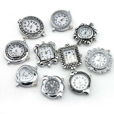 SY 10Pcs Wholesale Bulk Mix Lots Silver Plated Quartz Watch Face For DIY Beading