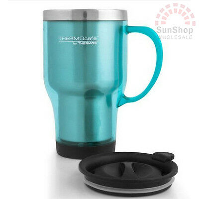 100% GENUINE! THERMOS Double Wall 470ml S/S Insulated Travel Mug Teal!
