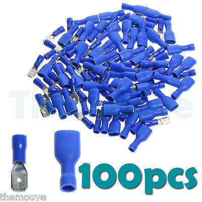 50pair 100x Blue Fully Insulated Spade Crimp Wire Cable Connector Terminal AU