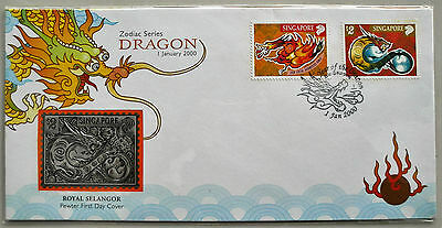 Singapore - Millenium Year of the Dragon FDC (Pewter) - 2000