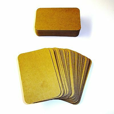 100 x Kraft ROUNDED Corner Blank Business Cards - 270gsm