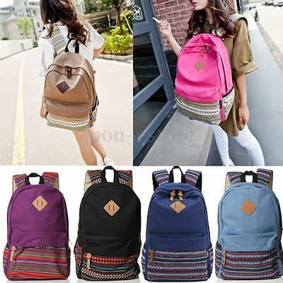 Women Canvas Travel Shoulder Rucksack Backpack Bookbag Hiking School Bag Satchel