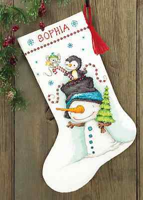 """Jolly Trio Christmas Stocking Counted Cross Stitch Kit 16"""" Long 14 Count"""