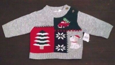 bt kids baby boy christmas sweater 3 6m gray red green tree truck dog new