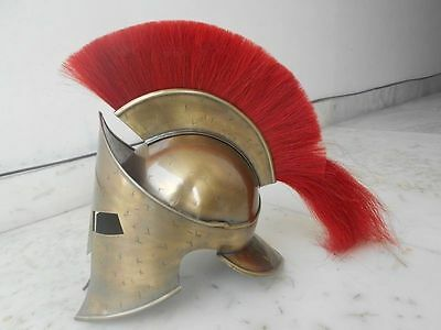 New 300 Medieval King Roman Leonidas Spartan Helmet W/ Black Plume Movie Helmet