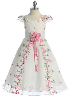 New Pink Flower Girls Embroidered Dress Wedding Pageant Christmas Easter Party