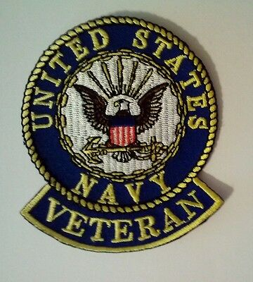 "U.S. Navy Veteran Patch 3"" Iron on or Sew On"