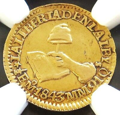 1843 Mo Mm Gold Mexico 1/2 Escudo Coin Ngc About Uncirculated 50