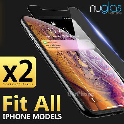 iPhone XS Max XR 87 Plus 2X Genuine NUGLAS Tempered Glass Screen Protector Apple