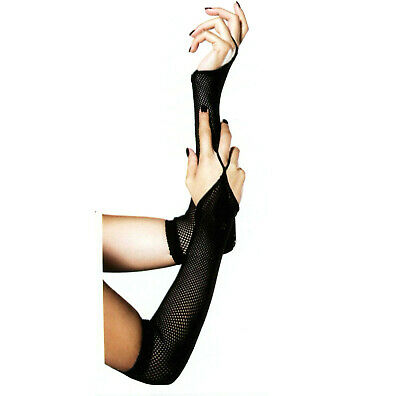 Leg Avenue 2019 Long Gloves Fingerless Fishnet Loop Gothic Steampunk O/S Black