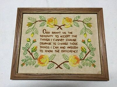 Handmade Embroidery W/ Serenity Prayer In A Wood Frame W/ Hanger Clip, Circa 70s