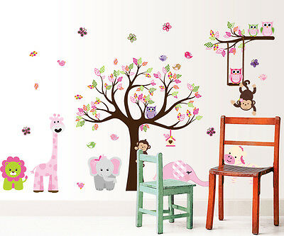 Owl Tree Removable Vinyl Children Nursery Wall Sticker Pink Decal Home Kid Decor