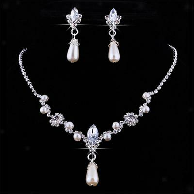 Bridesmaid Jewellery Set Wedding Necklace Earrings Faux Pearl Bridal Set