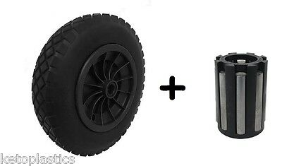 "PU 14"" BLACK Puncture Proof Solid 3.50-8 wheelbarrow wheel + 1"" NEEDLE BEARINGS"