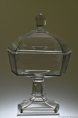 c. 1883 No, 730 PANEL RIBBED SHELL by Central Glass CRYSTAL Covered Compote