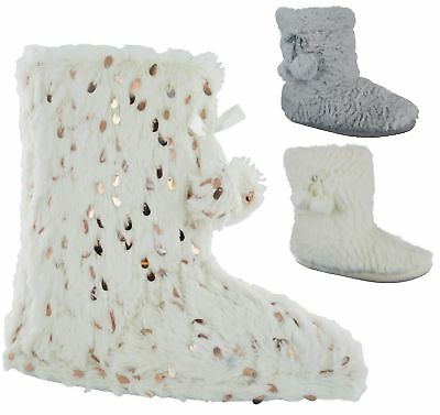 Ladies Womens Slippers Boots  Girls Winter Warm Fur New Ankle Bootie Shoes Size