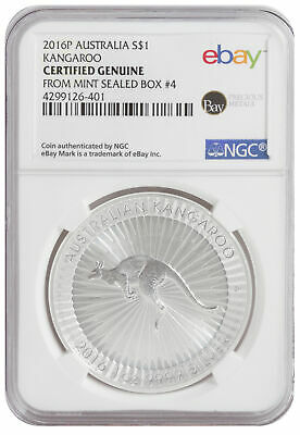 2016 1oz Silver Kangaroo -- NGC Certified from Perth Mint Sealed Box 4!
