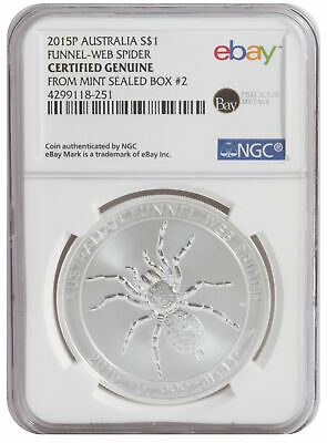 2015-P 1oz Silver Spider -- NGC Certified from Perth Mint Sealed Box 2!
