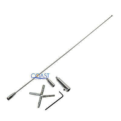 "Universal 31"" Radio Replacement Top Mount Screw-in Antenna Mast w/ 6 Adapters"