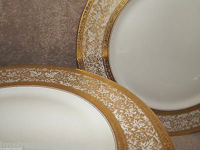 "12 Heinrich & Co #6304 Gold Encrusted 11"" Dinner Plates"