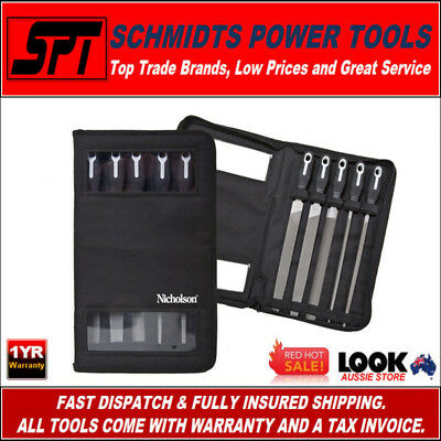 "Nicholson Nfs58 8"" File Set Soft Grip 5 Piece Set With Storage Case - Brand New"