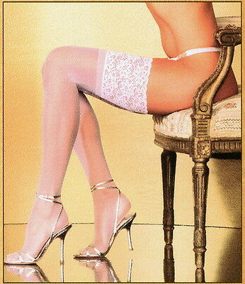 Fantasy Lingerie BR5004 Sexy Bride Stockings Sheer Nylon Wide Lace O/S White