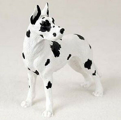 GREAT DANE Harlequin Cropped DOG Figurine Statue Hand Painted Gift Pet Lovers