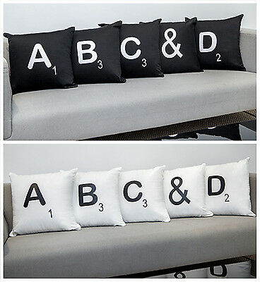 Scrabble Letters 100% Cotton Cushion Covers with Pads Ready Filled Novelty Decor