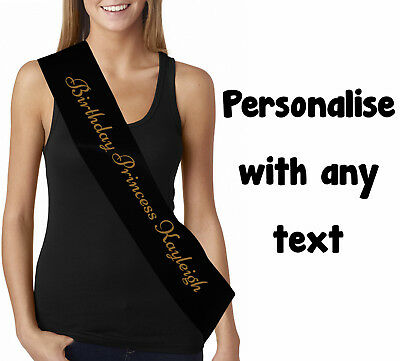 Personalised Black Gold Birthday sash custom printed with any text age name