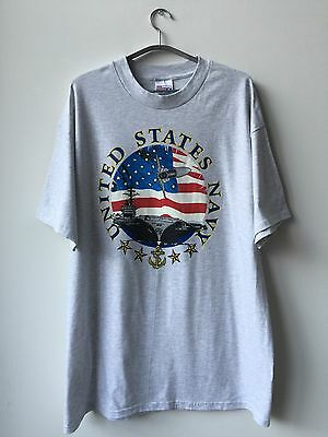 Vintage 80s 90s U.S. Navy T-SHIRT XL Cotton Deadstock NEW Made In USA Americana