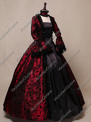 Victorian Renaissance Dark Queen Steampunk Vampire Dress Halloween Costume 119