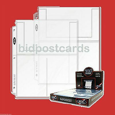 *100* BCW Archival 3-Pocket Display Pages Album Refills for 4x6 Photos Postcards