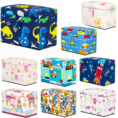 Children's Large Upholstered Wooden Toy Box Chest Soft Closing Lid Padded Kids