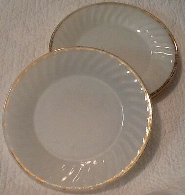 """Set Of Three Fire King Plates 9"""" Across Gold Edging Retro Vintage Oven Ware U.S."""