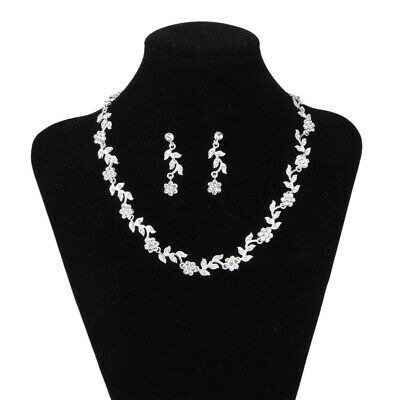 Clear Crystal Flower Leaf Necklace Earring Wedding Bridal Bridesmaid Party Prom