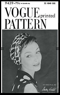 Millinery TURBAN  Vtg Designer SALLY VICTOR HAT Fabric Sewing Pattern VOGUE 9439