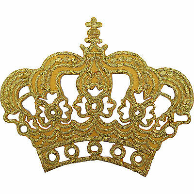 Gold Crown Patch Embroidered Iron / Sew On King Queen Fancy Dress Costume Badge