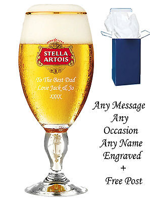 Personalised Engraved Branded Pint Stella Artois Chalice Glass birthday gifts