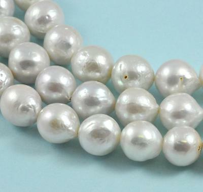 11-12mm White Edison Nucleated Round Baroque Freshwater Pearls Jewellery Making