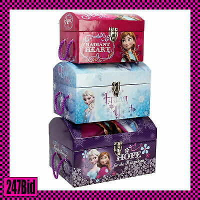 Set Of 3 Girls Kids Disney Frozen Domed Toy Chests Storage Trunks Boxes Toybox
