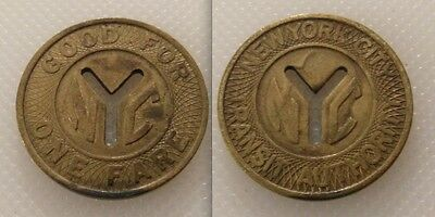 Large Collectable Railway New York City Transit Token - Good For One Fare - Nyc