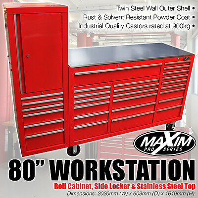 "MAXIM 80"" Red Workstation Toolbox Mechanic Roll Cabinet Storage Truck Tool Box"