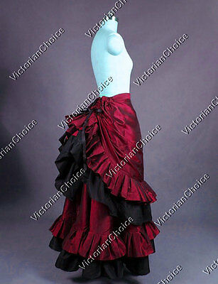 Victorian Edwardian Bustle Walking Skirt Theatre Steampunk Punk Clothing K034