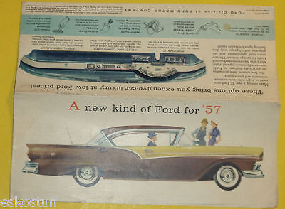 Ford Cars 1957 Full Line Auto Sales Brochure Great Pictures! Nice See!